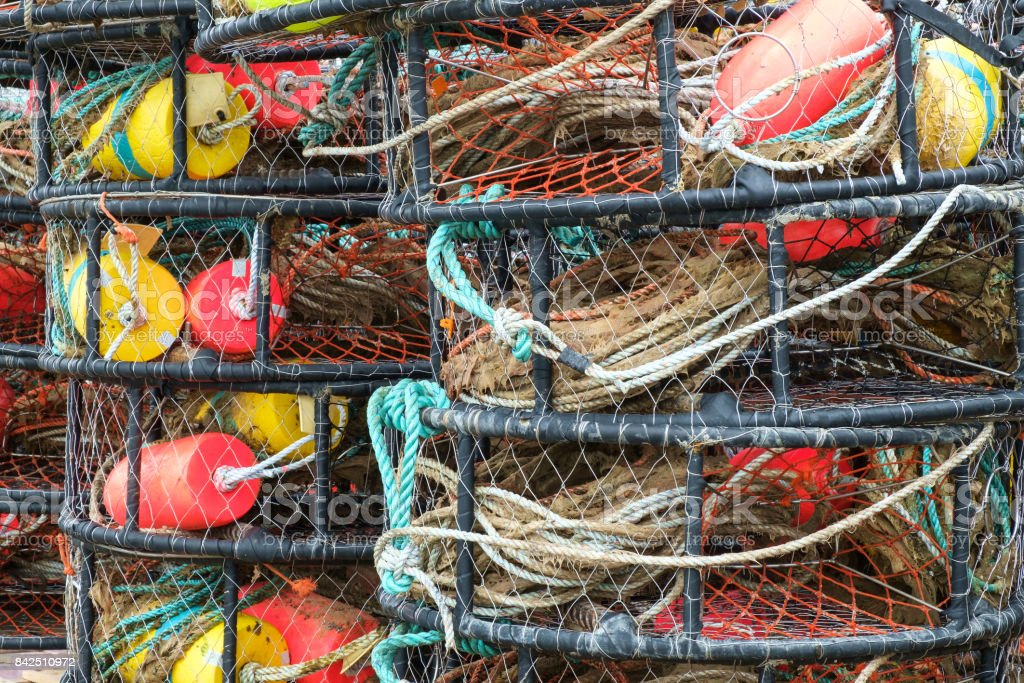 Colorful crab pots stock photo