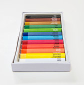 Colorful crayon set with named colors and color codes