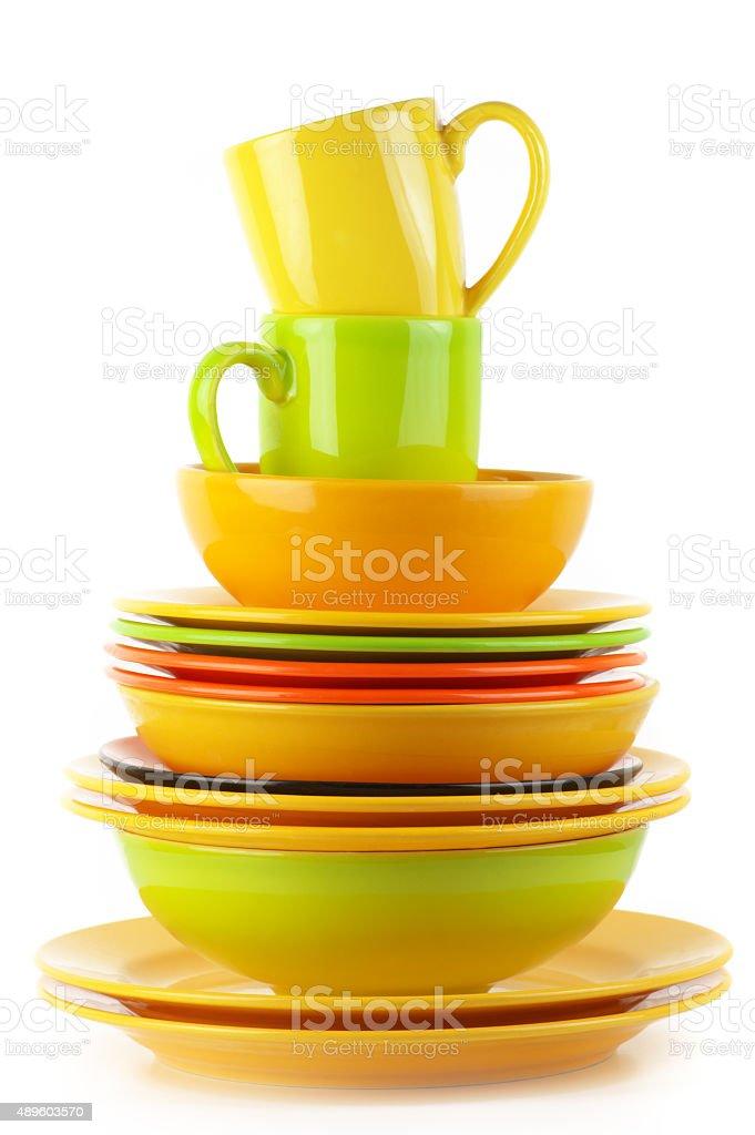 Colorful crockery stock photo