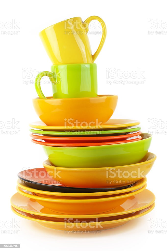 Colorful crockery stock photo