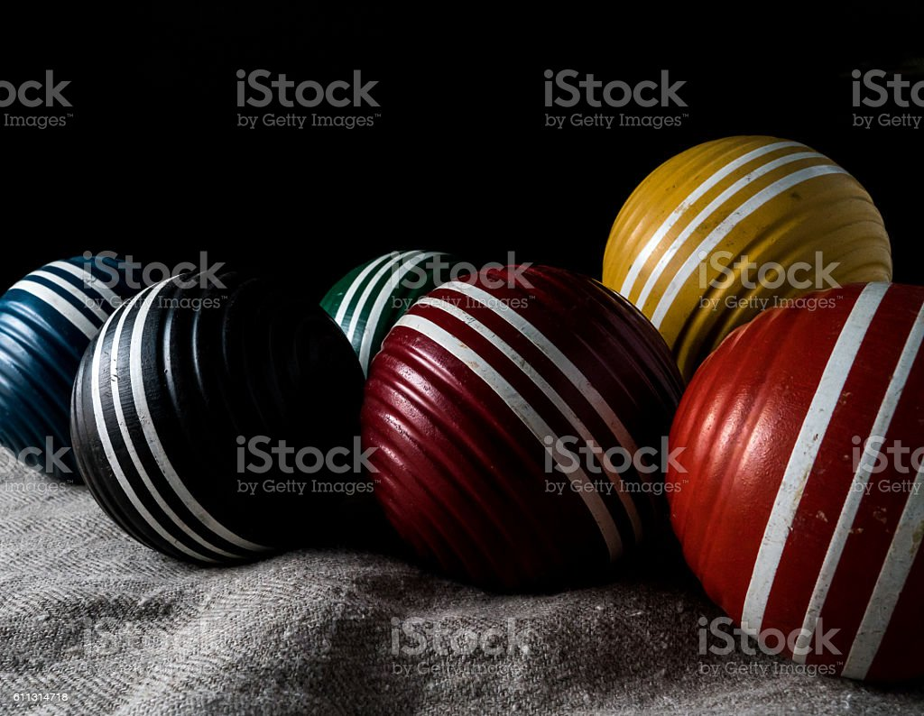 colorful croquet balls stock photo