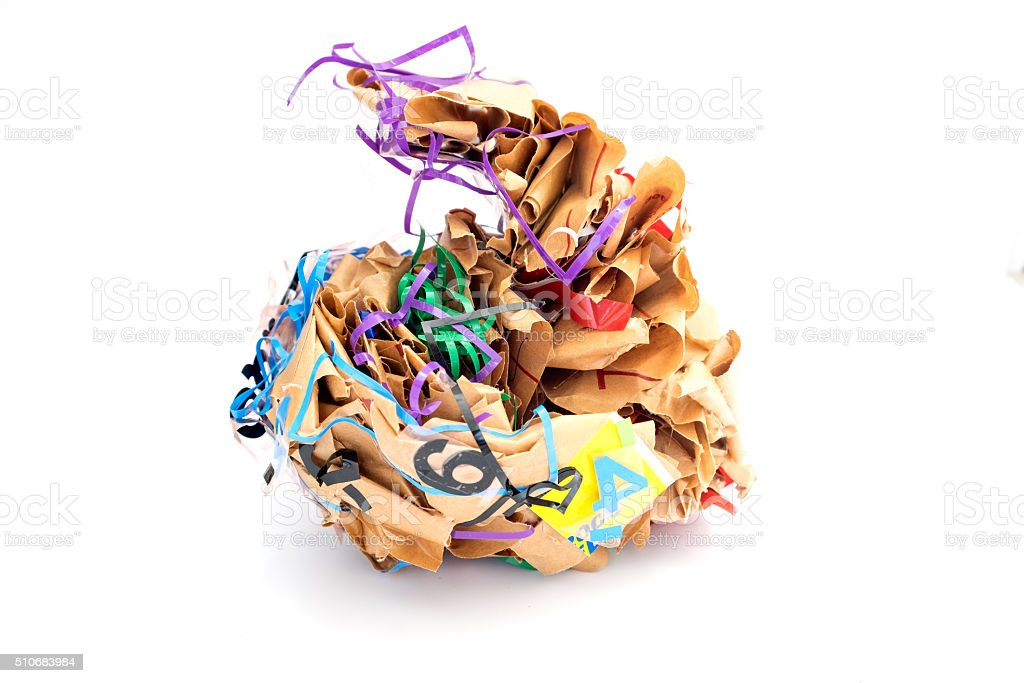 Colorful crumpled paper brown shape adhesive tape grotesquely stock photo