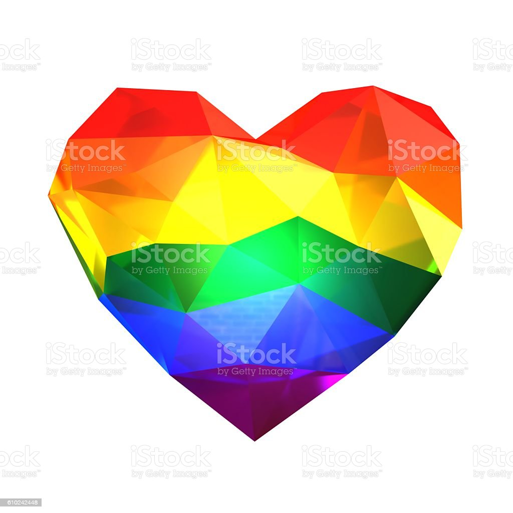 Colorful crystal heart stock photo