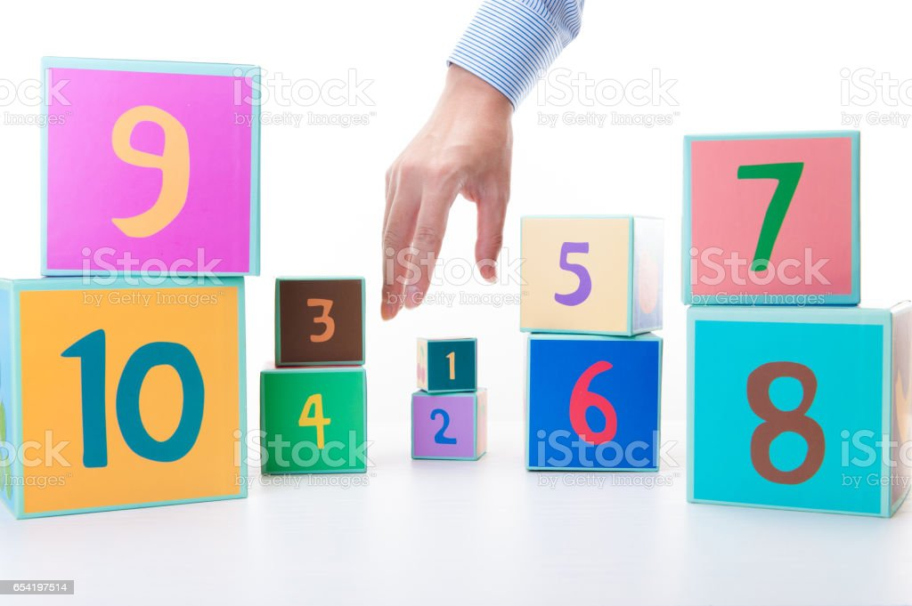 Colorful cube with the numbers stock photo