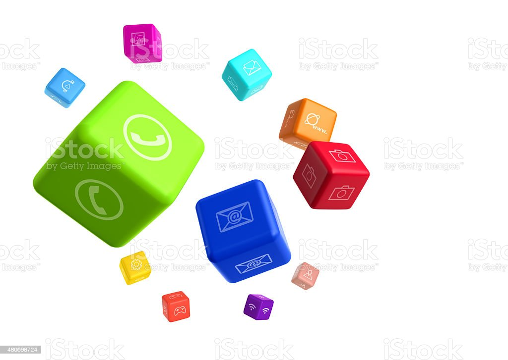 Colorful cubes with app icons on white background stock photo