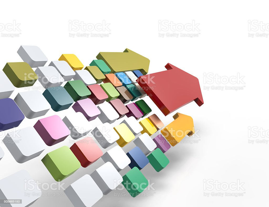 Colorful cubes with arrows stock photo