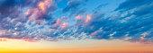 Colorful Cumulus Humilis Clouds at Sunset