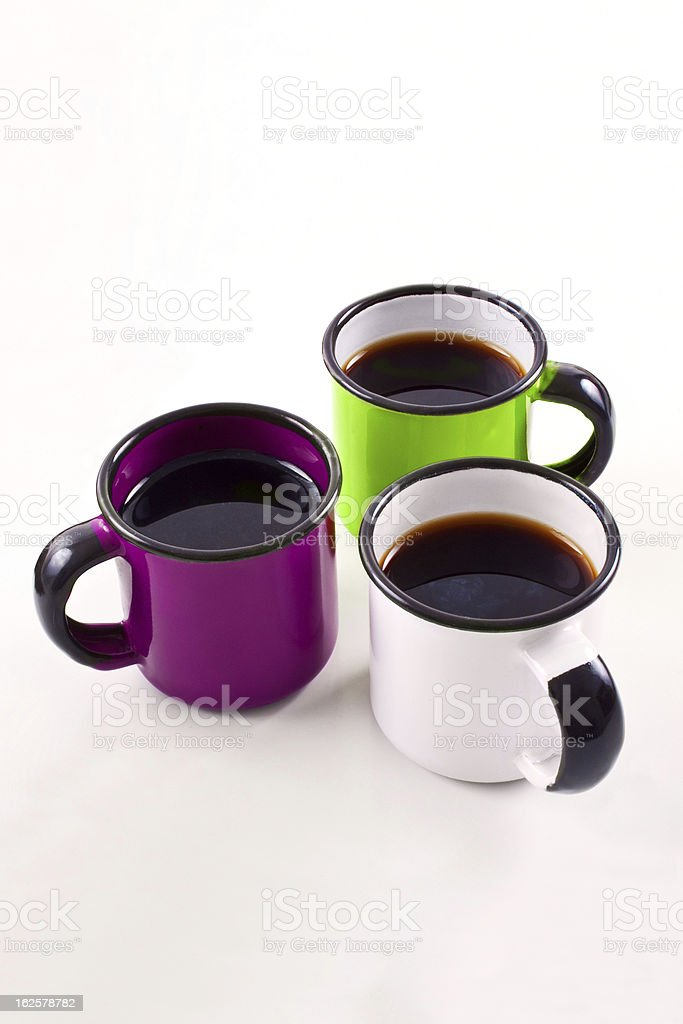 Colorful cups with coffee royalty-free stock photo
