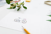 Colorful cute bicycle on greeting card, free space