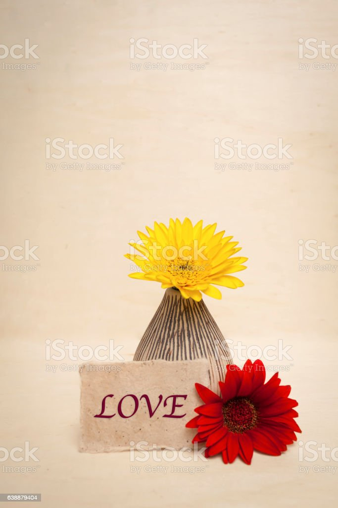 Colorful daisy flower with love note stock photo