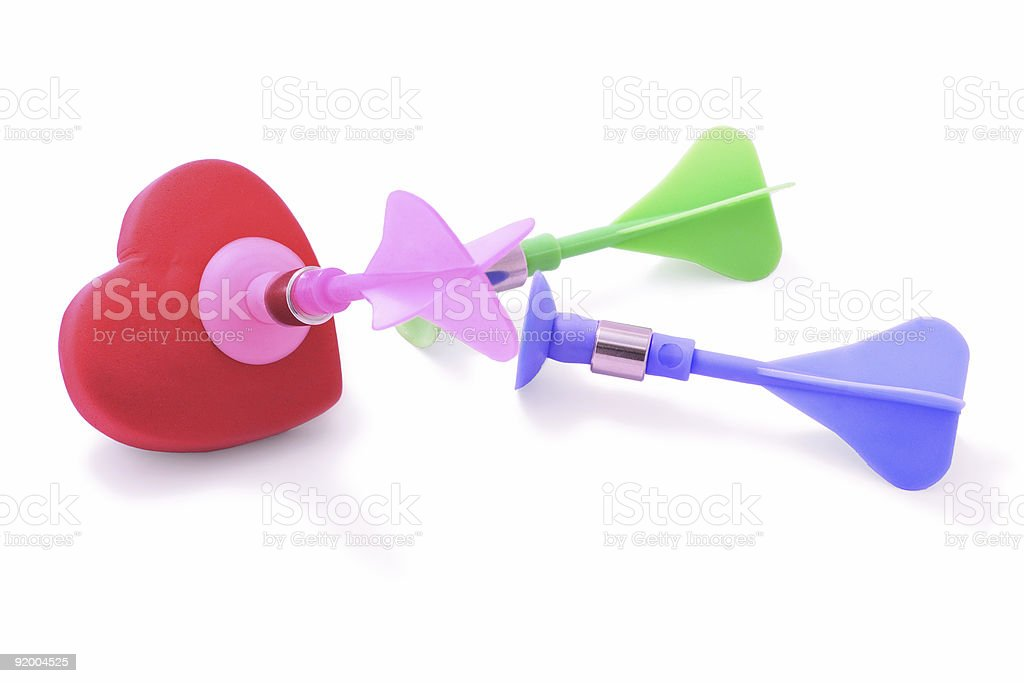 Colorful darts and love heart stock photo