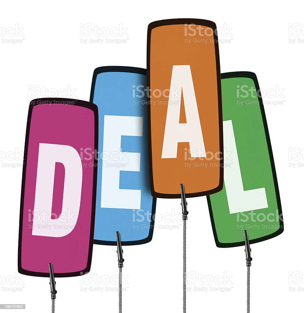 Colorful Deal Tag in Wire Clamp 4 (Clipping Path) royalty-free stock photo