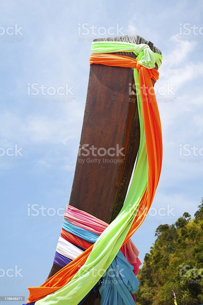 Colorful decorated longboat royalty-free stock photo