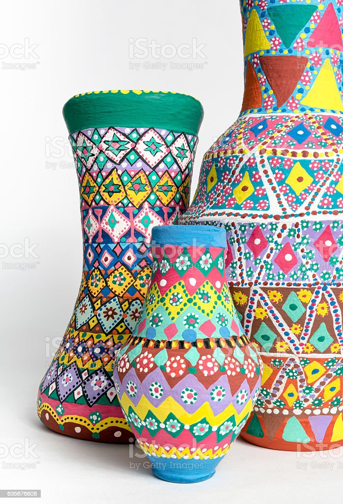 Colorful decorated painted oriental pottery vases stock photo