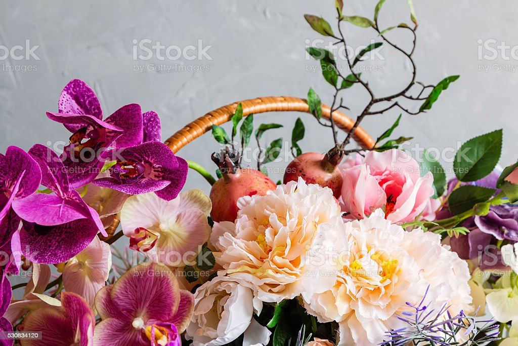 Colorful decoration artificial flower stock photo