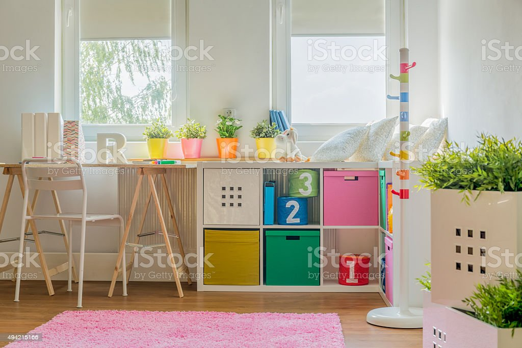 Colorful decoration in kids room stock photo