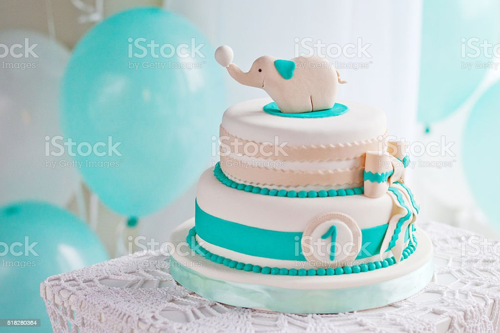 Colorful decoration of a first year birthday cake stock photo