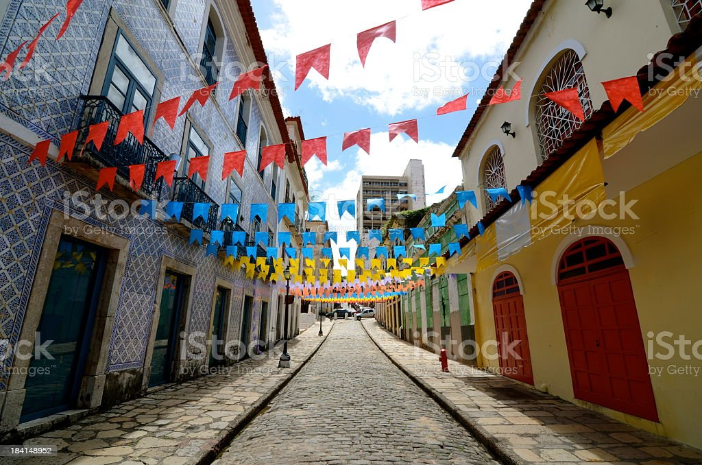 Colorful decorations on buildings stock photo