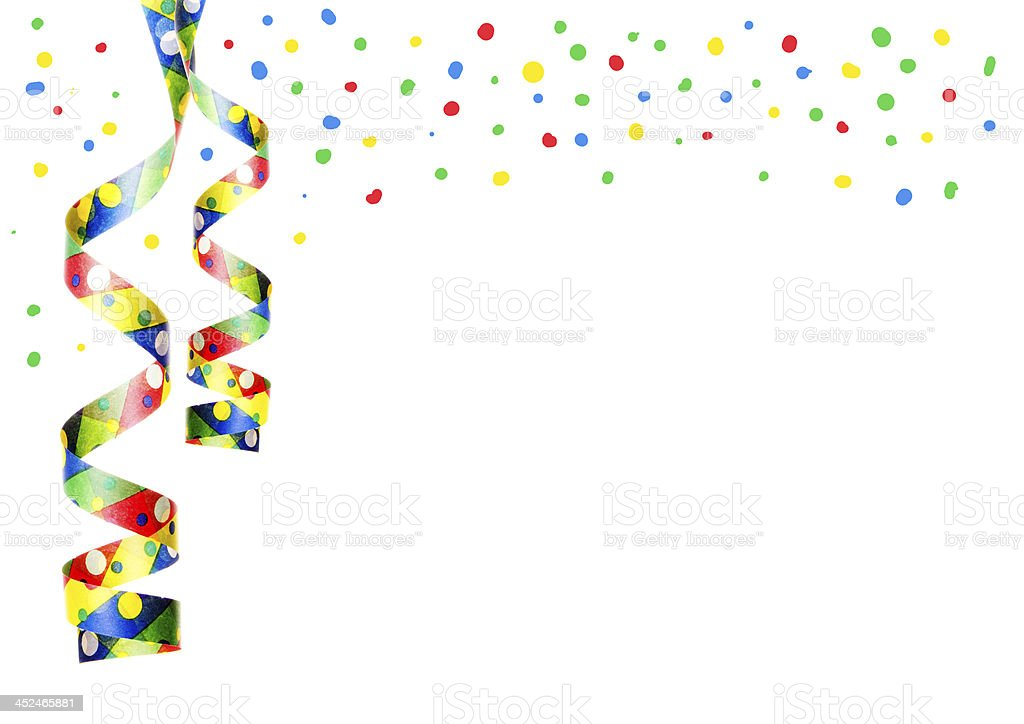Colorful decorative party ribbon hanging off the corner stock photo