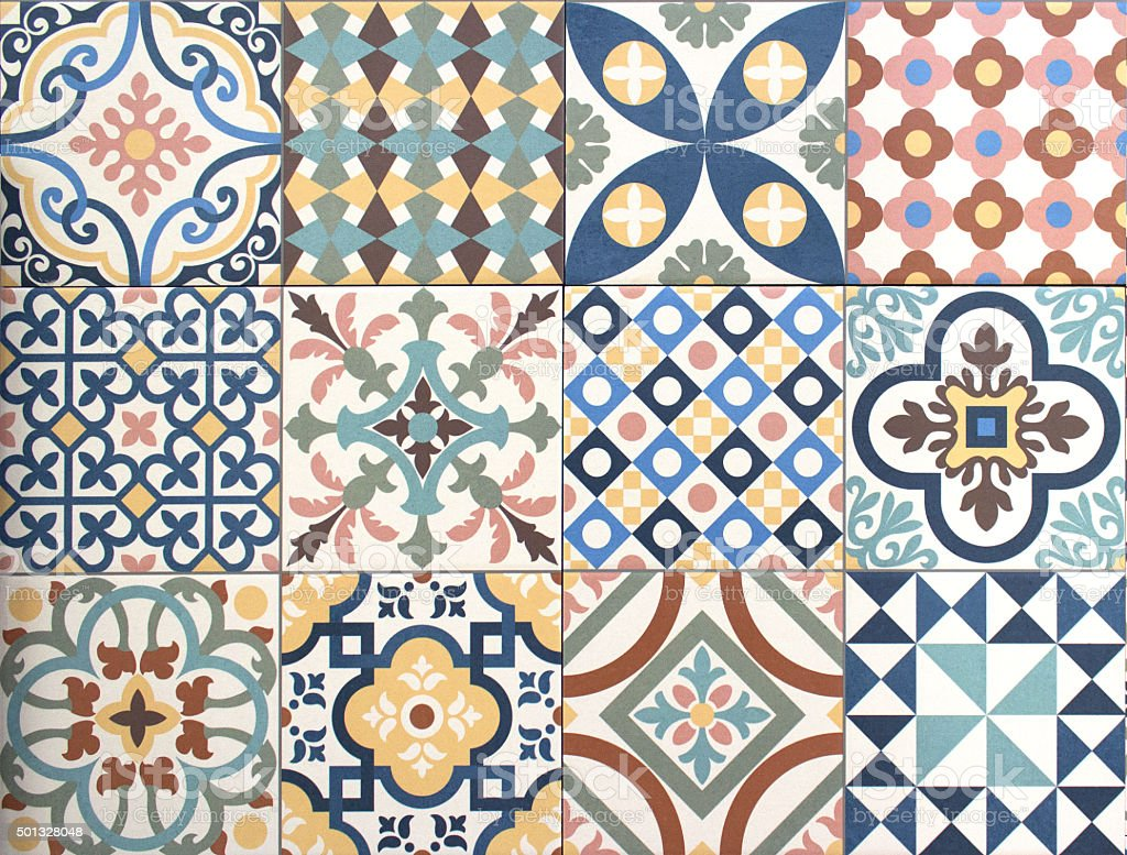 colorful, decorative tile pattern patchwork design stock photo