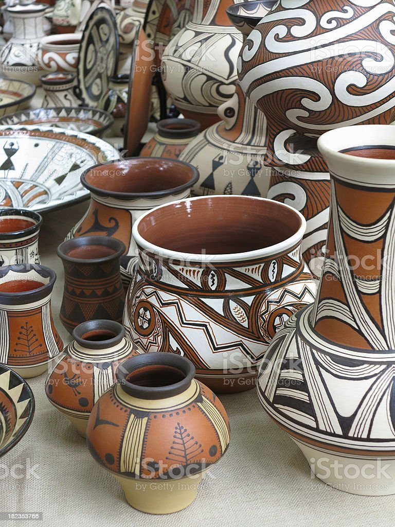 Colorful designed clay pottery ceramic vases royalty-free stock photo