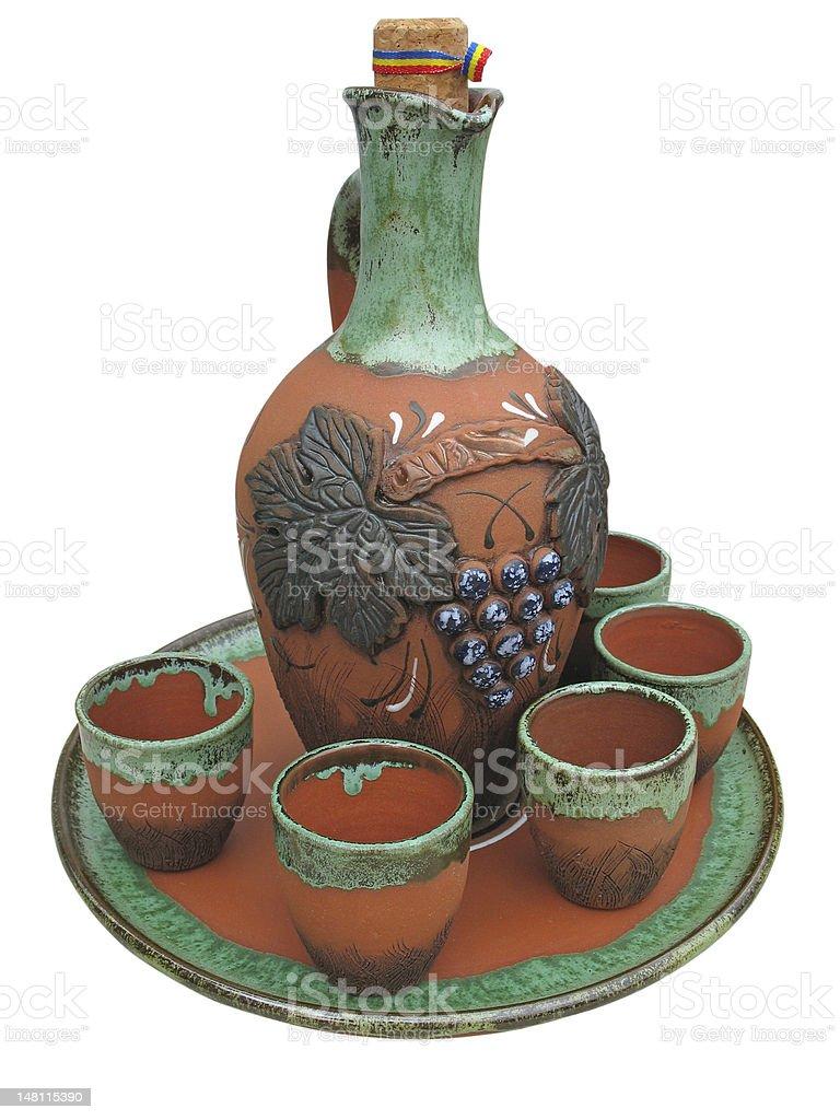 Colorido desenhado Barro Jarra isolado foto de stock royalty-free