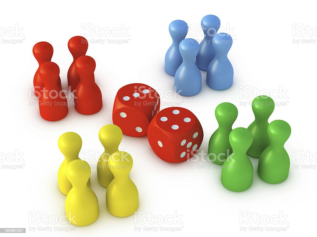 Colorful Dice Game Pieces royalty-free stock photo