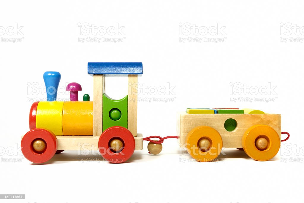 Colorful didactic wooden train toy for preschool aged kids stock photo