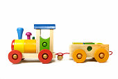 Colorful didactic wooden train toy for preschool aged kids