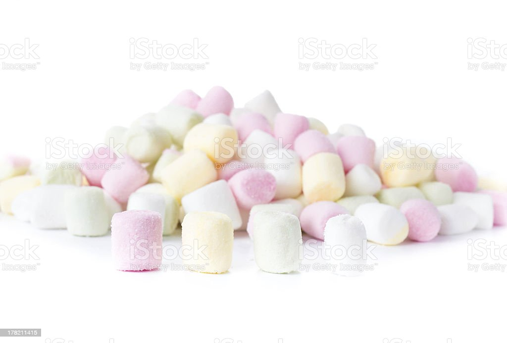 Colorful different  Fluffy Round Marshmallow isolated on white royalty-free stock photo