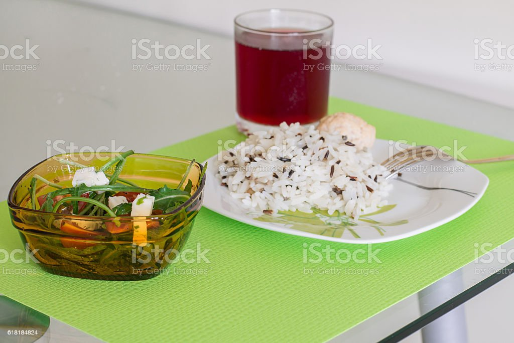 Colorful dinner on glass table. stock photo