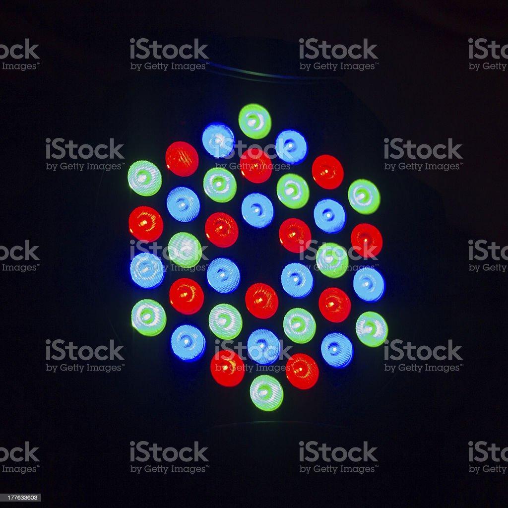 Colorful disco light on black background stock photo
