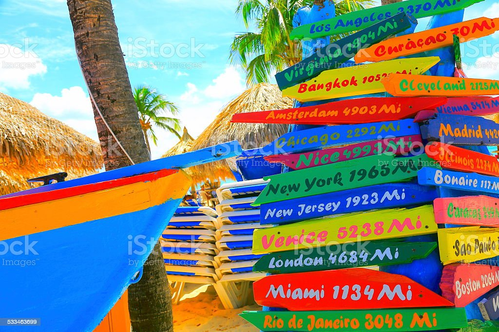 Colorful distances to various locations around the world in Aruba stock photo