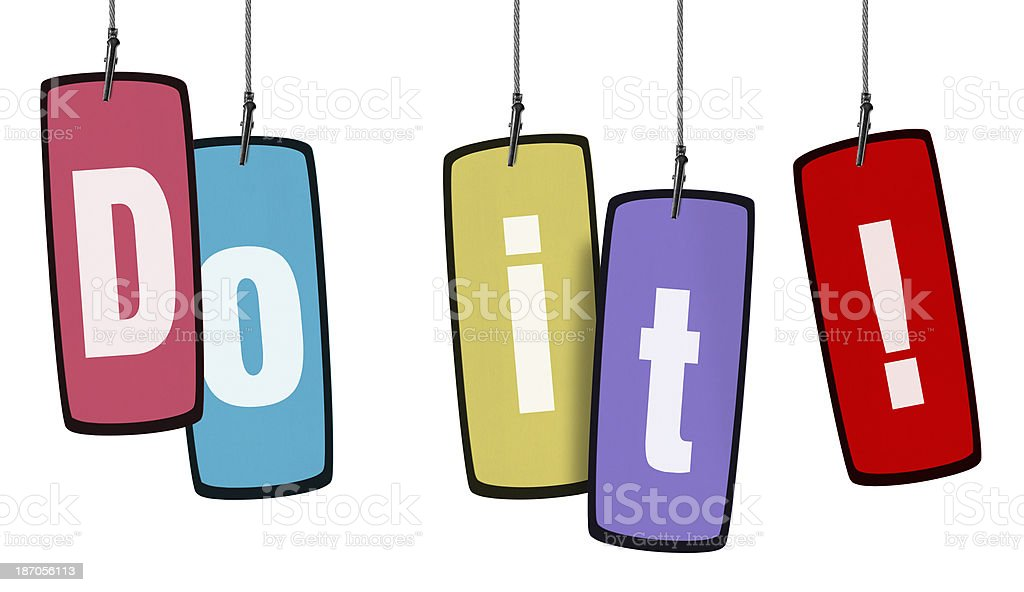 Colorful Do it Tag in Wire Clam (Clipping Path) royalty-free stock photo