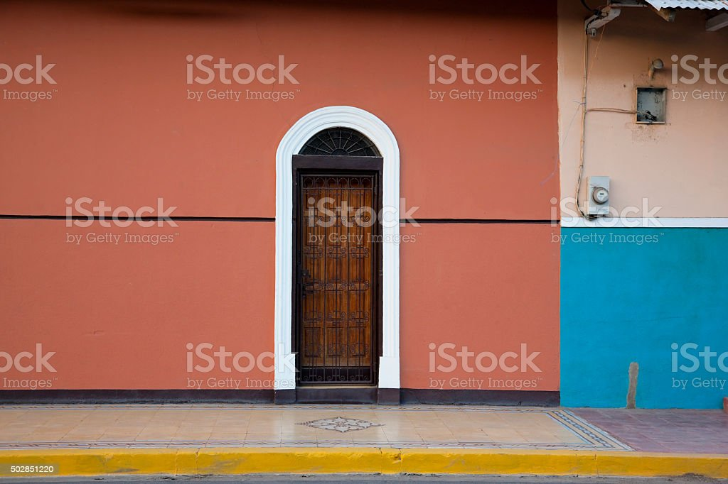 Colorful door and wall in Central America stock photo