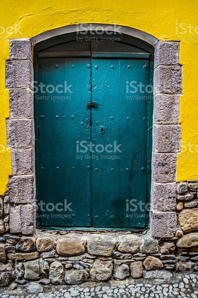 Colorful door in La Paz, Bolivia stock photo