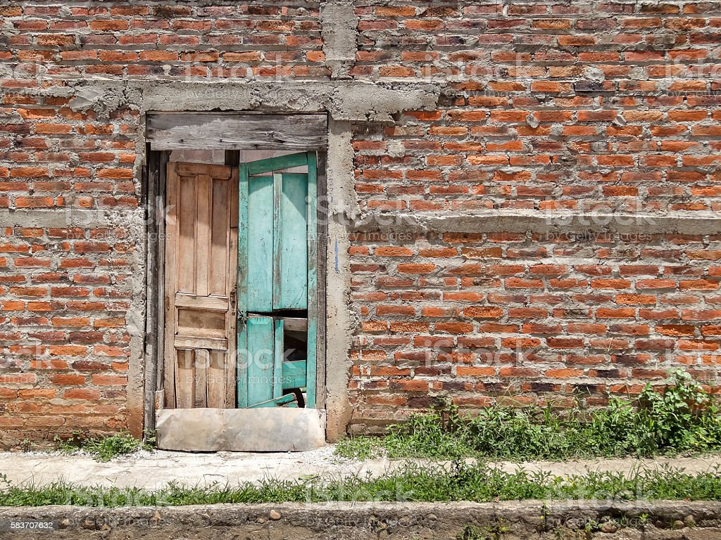 Colorful Door of Abandoned Building in Suchitoto, El Salvador stock photo