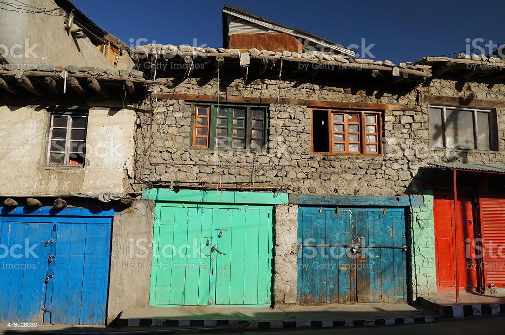 Colorful doors at Kargil, Ladakh, India stock photo