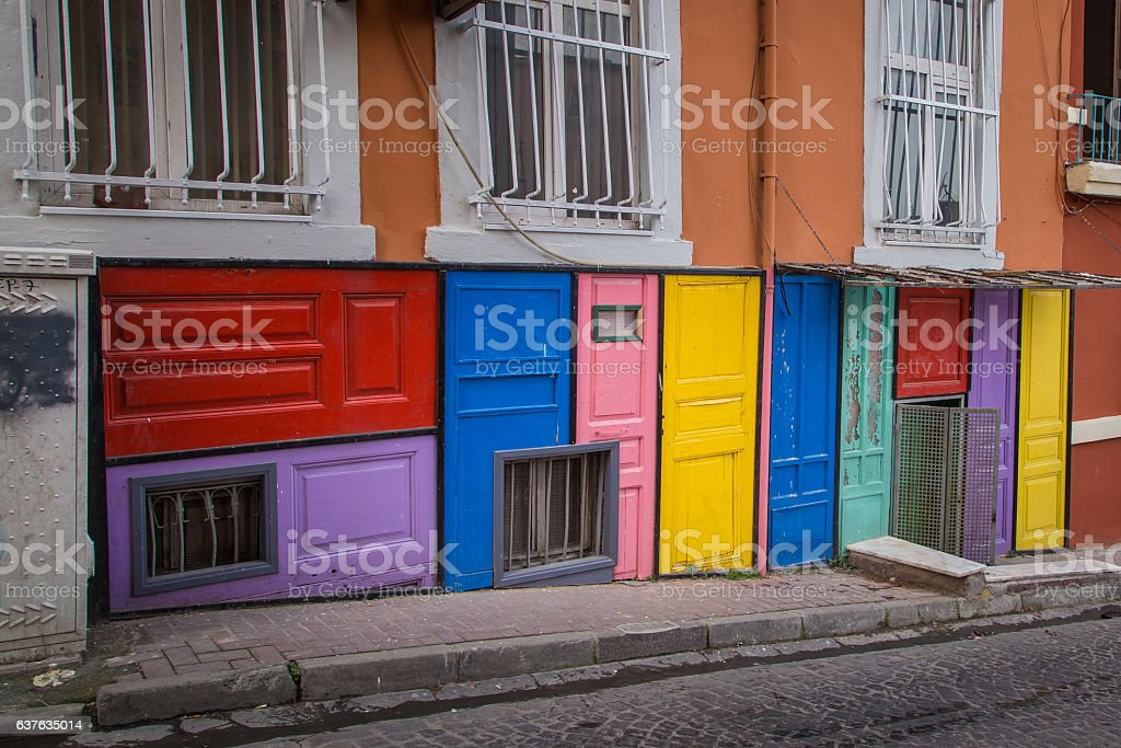 Colorful doors in Balat Fatih district in Istanbul stock photo
