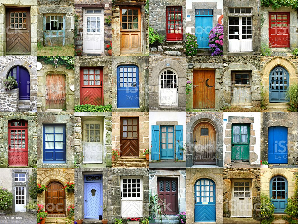 Colorful doors in French region of Brittany stock photo