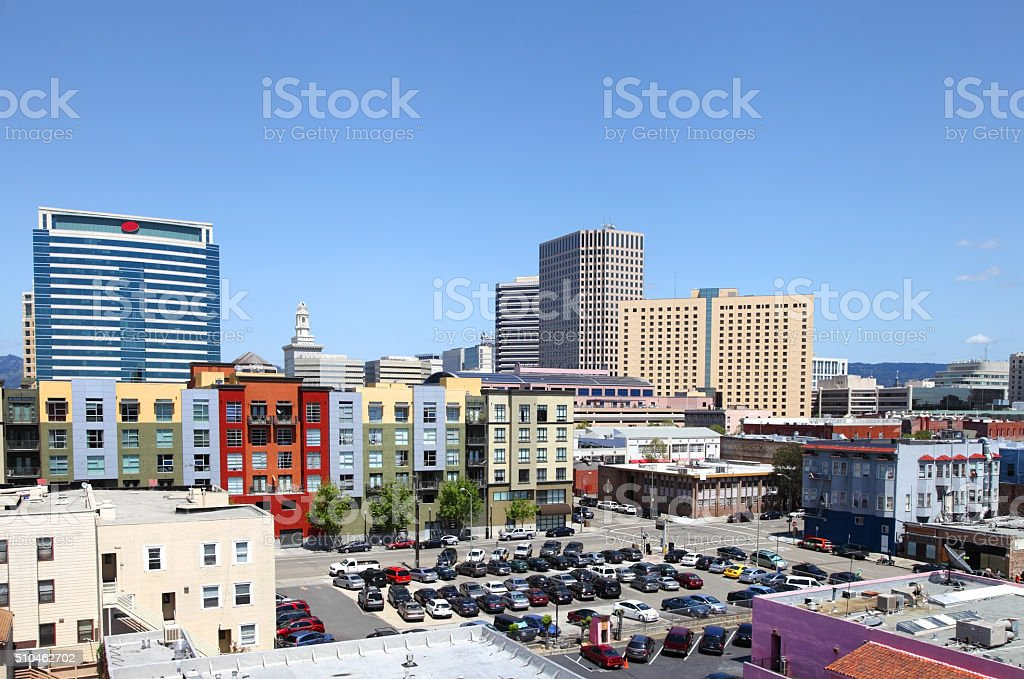 Colorful downtown Oakland skyline stock photo