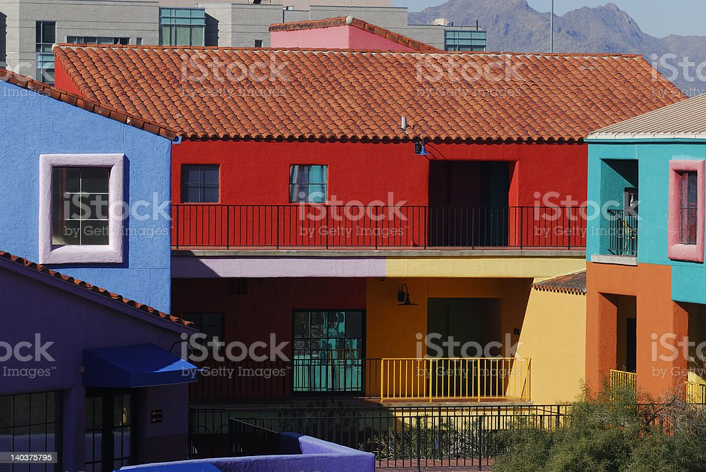 Colorful downtown Tucson buildings royalty-free stock photo
