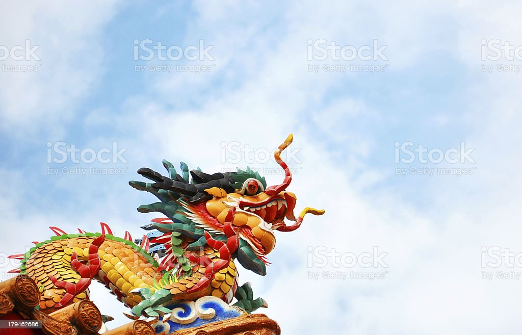 Colorful dragon on sky royalty-free stock photo