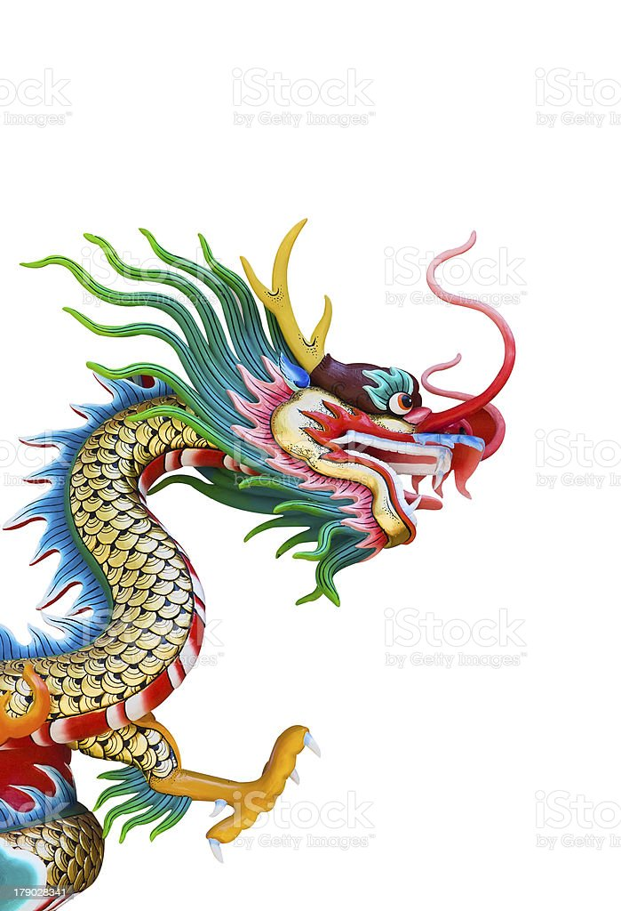 Colorful Dragon statue in Chinese style royalty-free stock photo