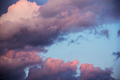 colorful dramatic sky with clouds at sunset for background