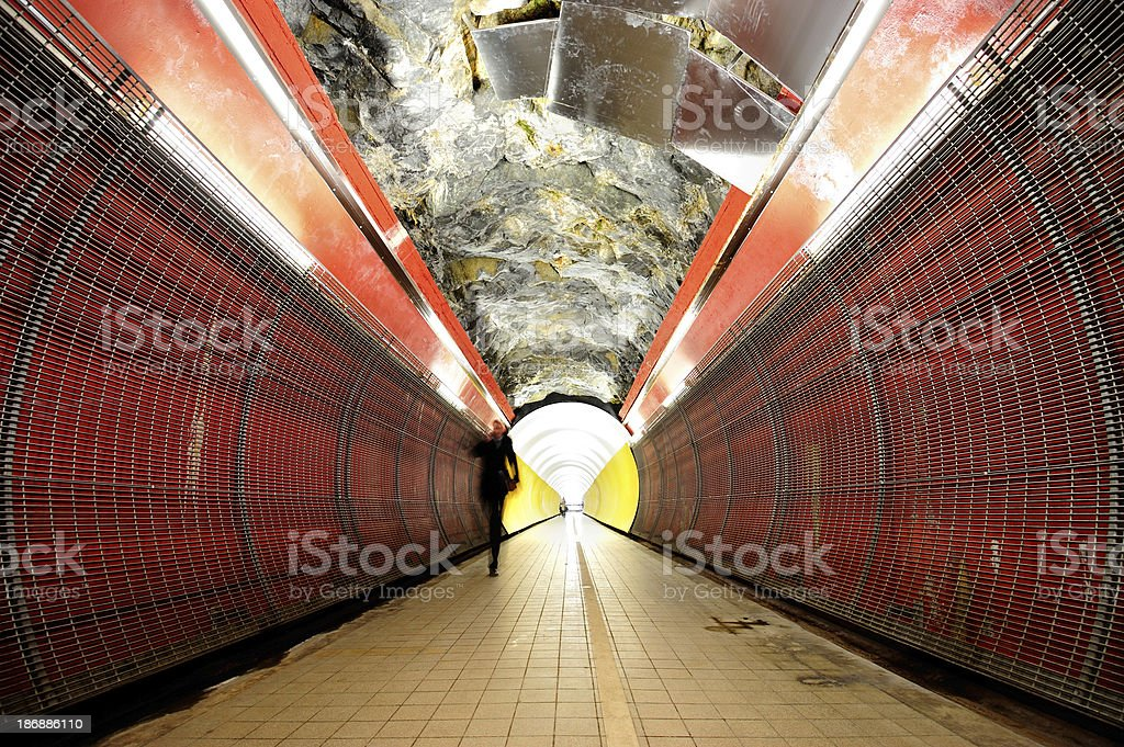 Colorful dramatic walk-path tunnel by night royalty-free stock photo