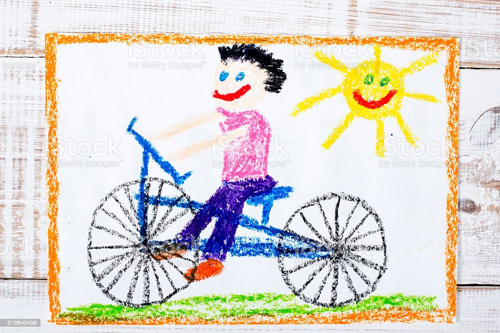 colorful drawing: boy riding bike stock photo