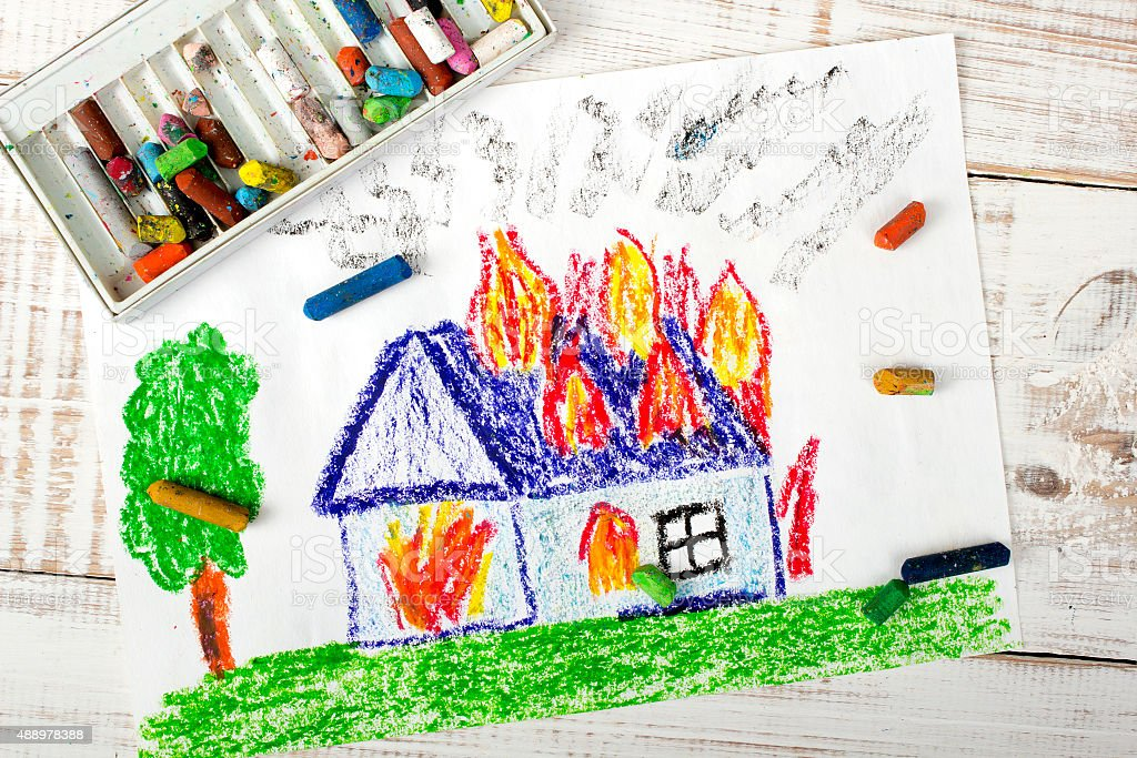 colorful drawing: burning house stock photo