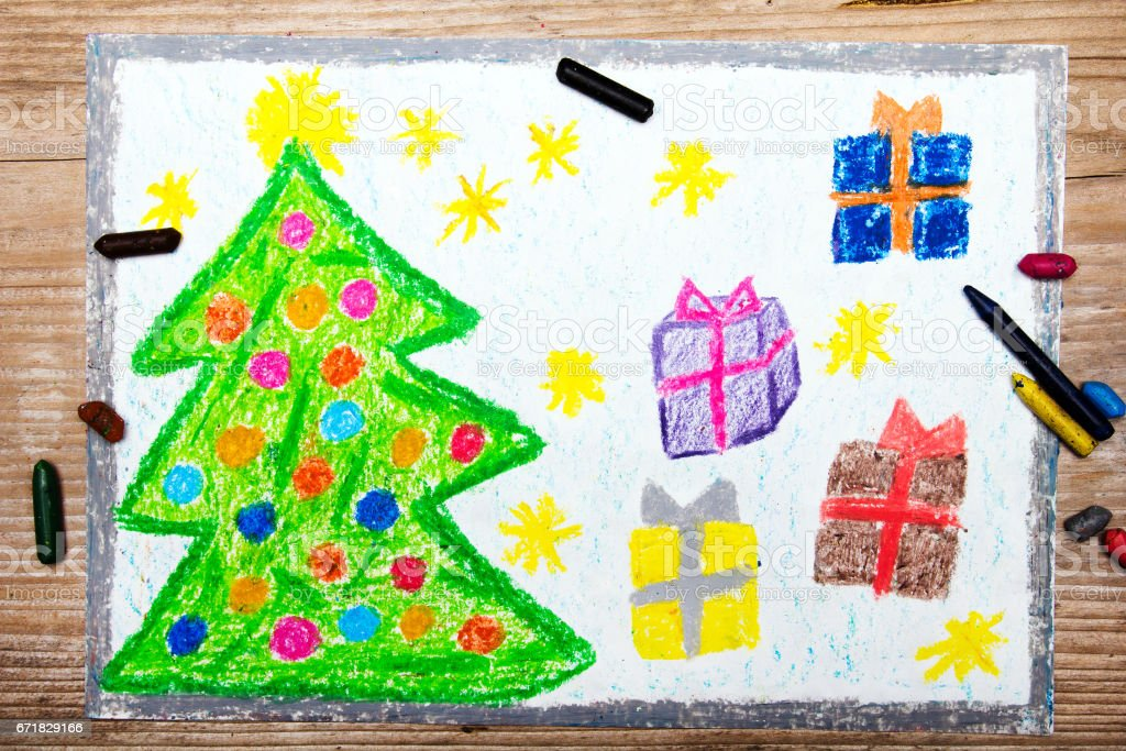 colorful drawing: Christmas tree and gifts stock photo