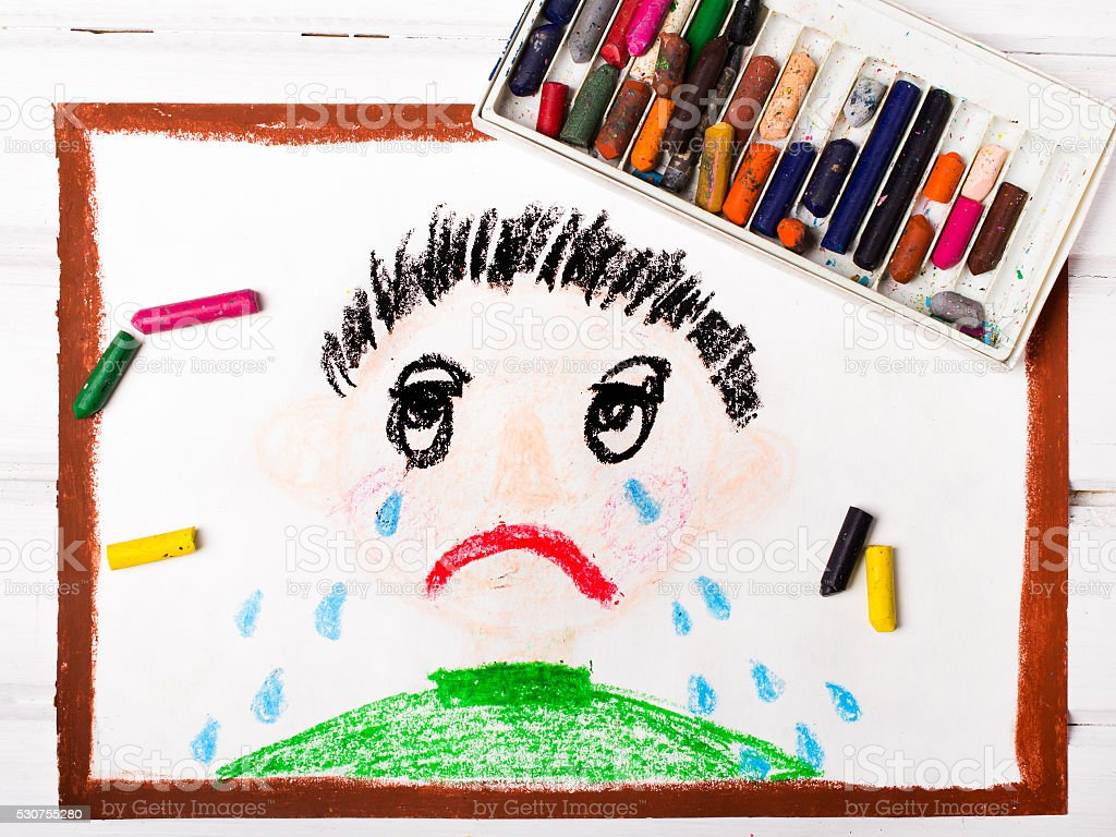 colorful drawing: crying boy stock photo
